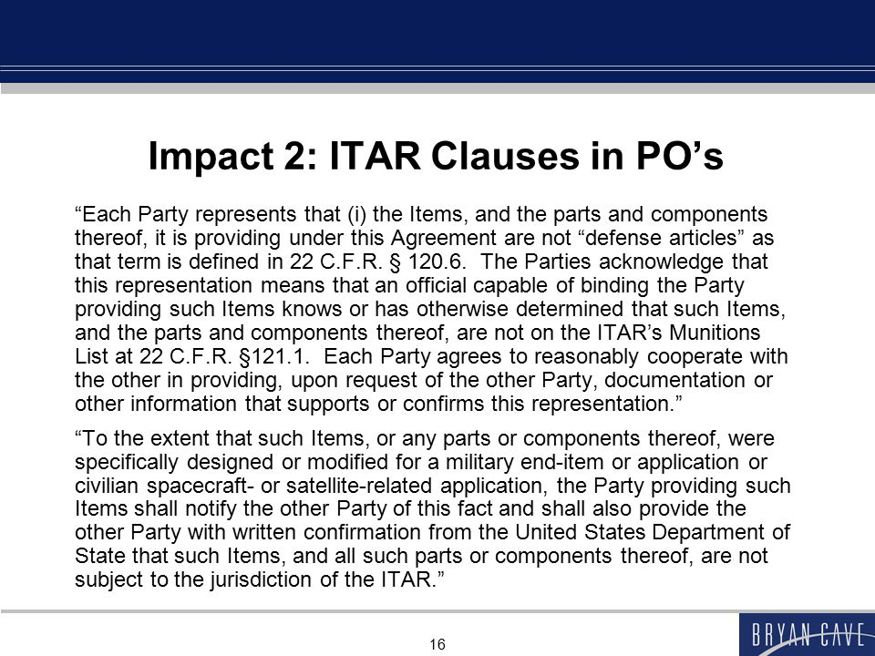 Impact 2: ITAR Clauses in PO's