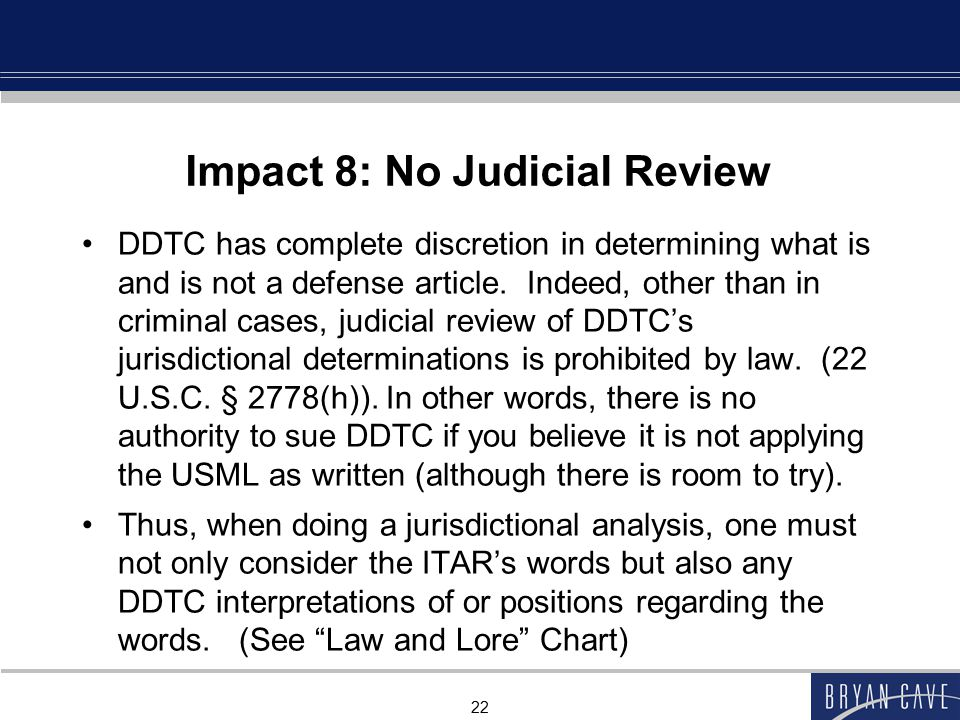 Impact 8: No Judicial Review