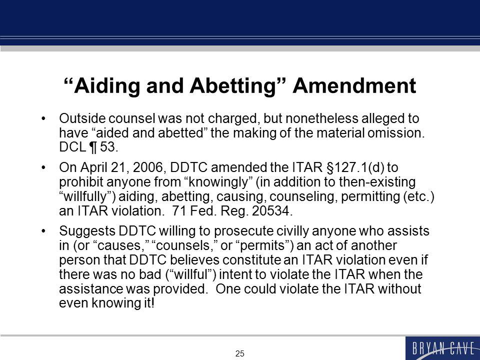 Aiding and Abetting Amendment