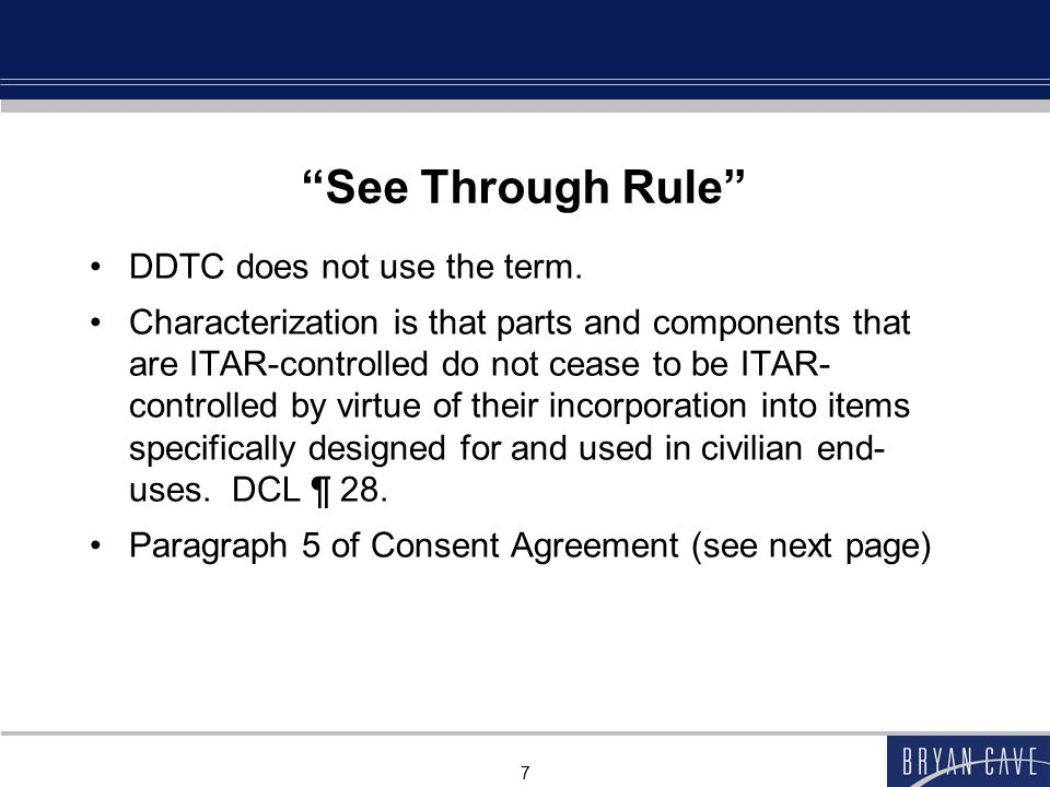See Through Rule DDTC does not use the term.