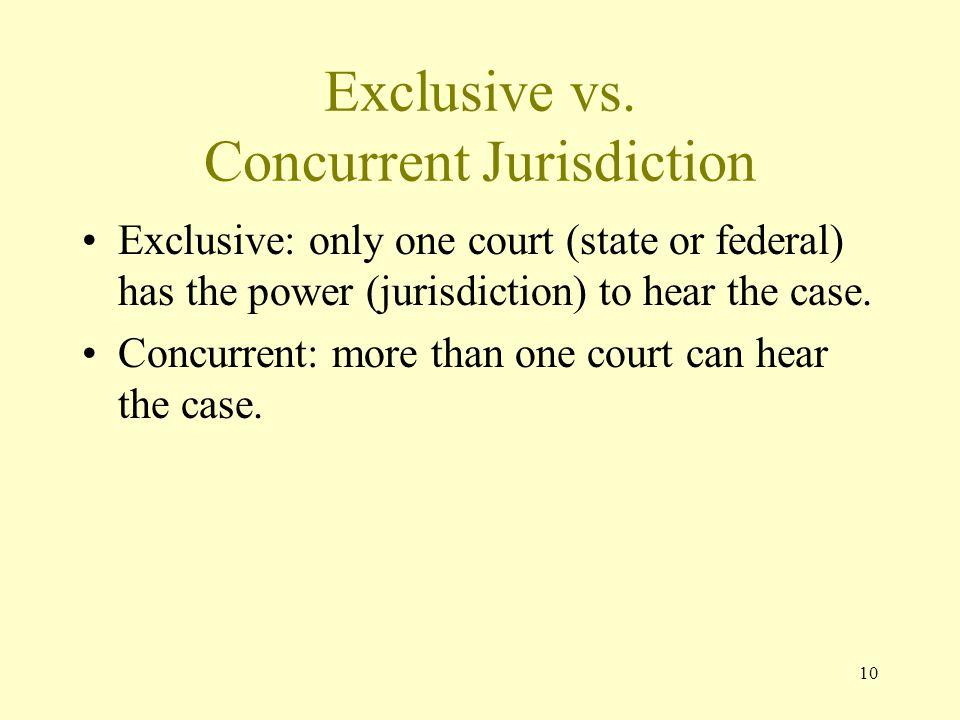 Exclusive vs. Concurrent Jurisdiction