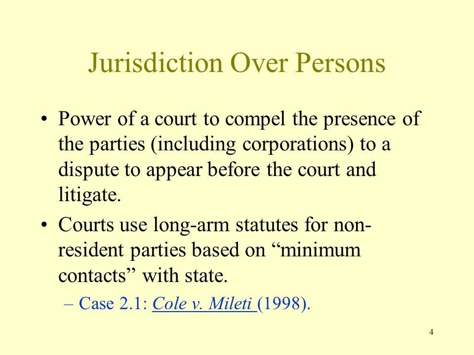 Jurisdiction Over Persons