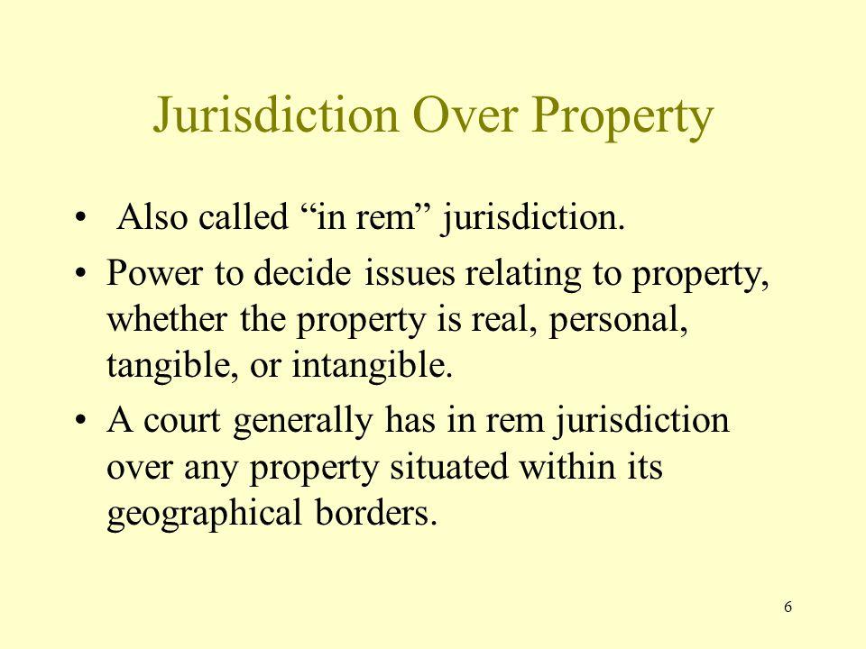 Jurisdiction Over Property
