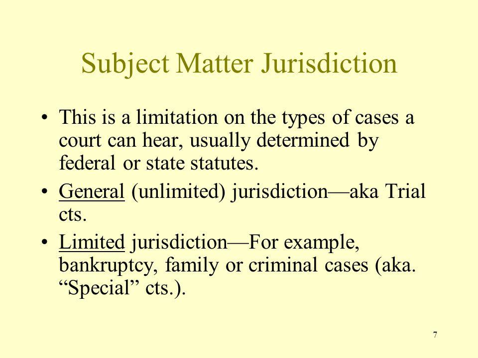 Subject Matter Jurisdiction