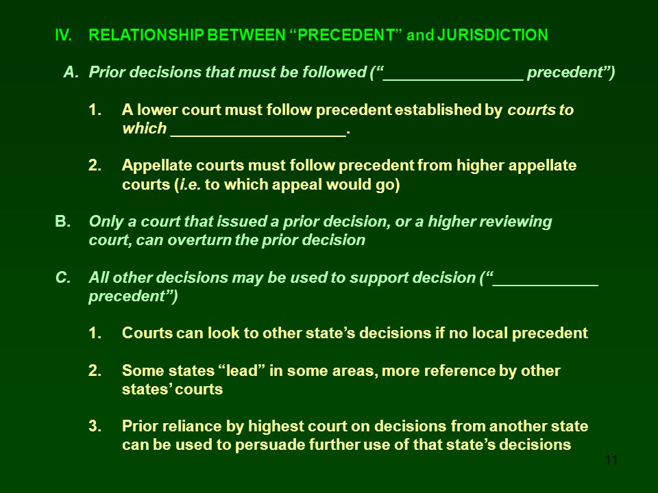 IV. RELATIONSHIP BETWEEN PRECEDENT and JURISDICTION