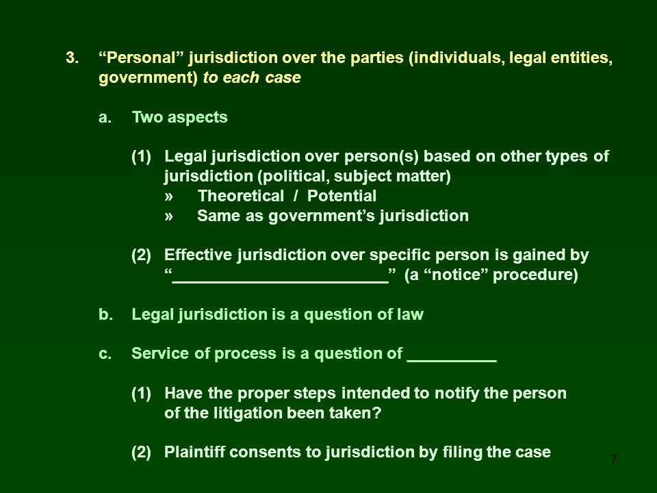 3. Personal jurisdiction over the parties (individuals, legal entities,