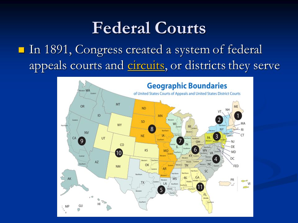 Federal Courts In 1891, Congress created a system of federal appeals courts and circuits, or districts they serve.