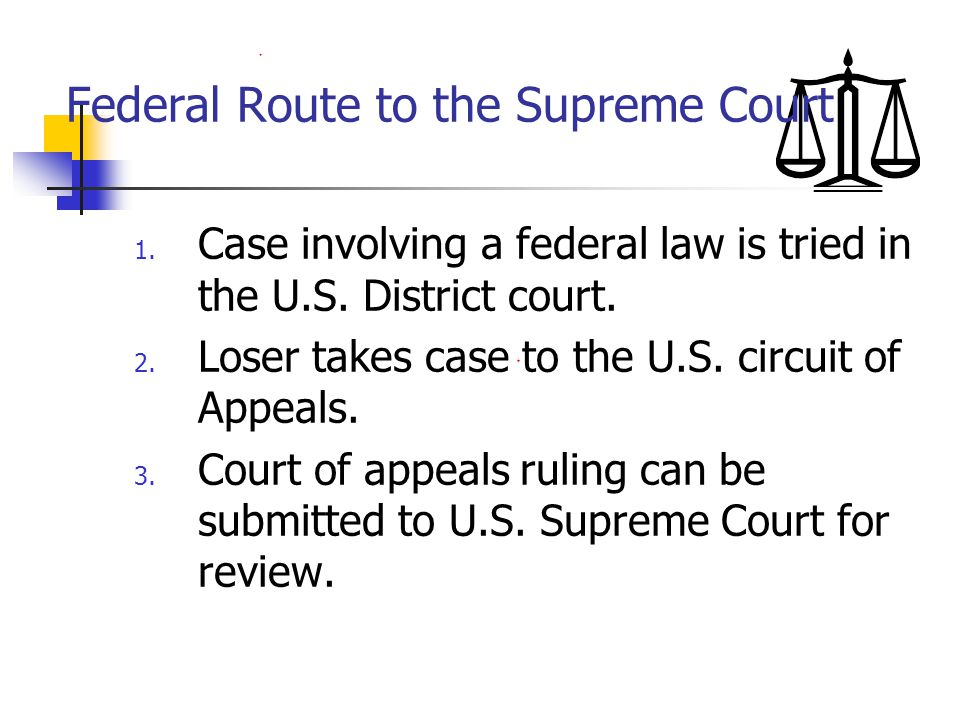 Federal Route to the Supreme Court