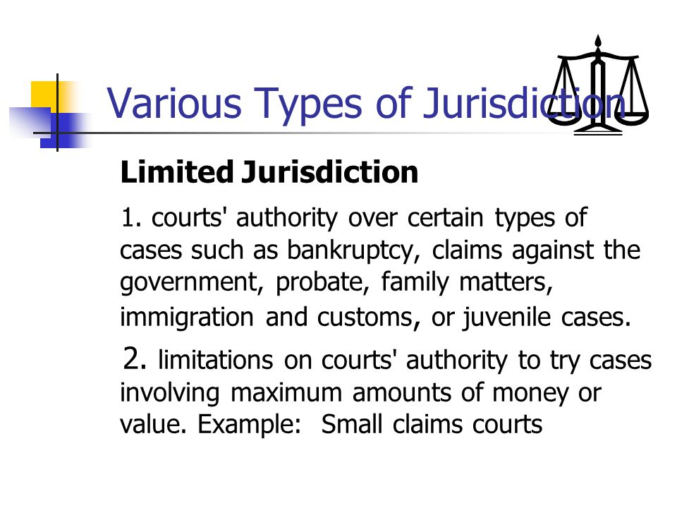 Various Types of Jurisdiction