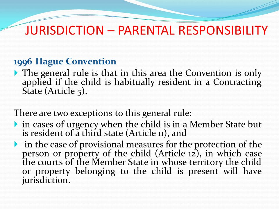 JURISDICTION – PARENTAL RESPONSIBILITY