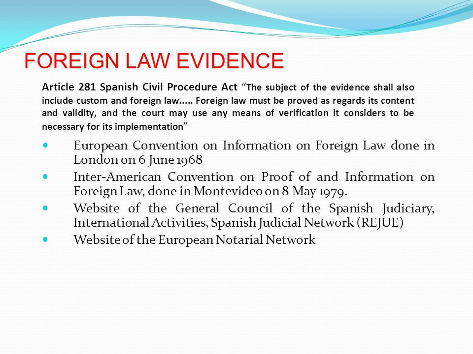 FOREIGN LAW EVIDENCE