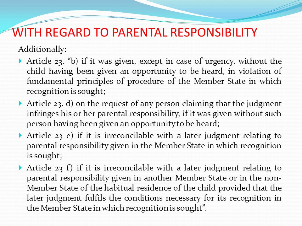 WITH REGARD TO PARENTAL RESPONSIBILITY