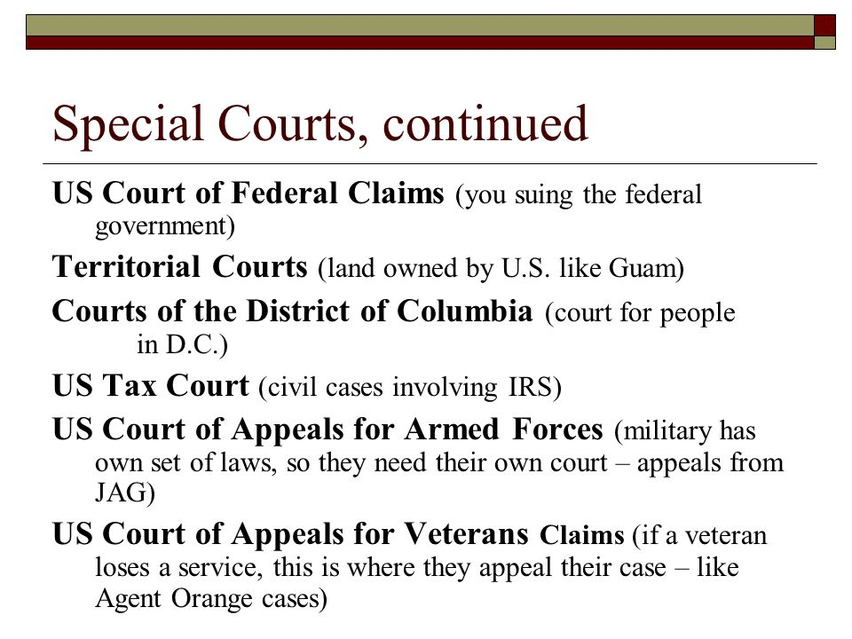 Special Courts, continued