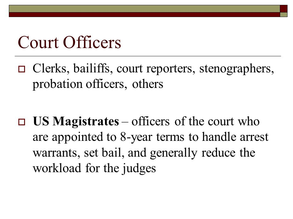 Court Officers Clerks, bailiffs, court reporters, stenographers, probation officers, others.