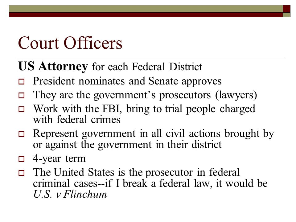 Court Officers US Attorney for each Federal District