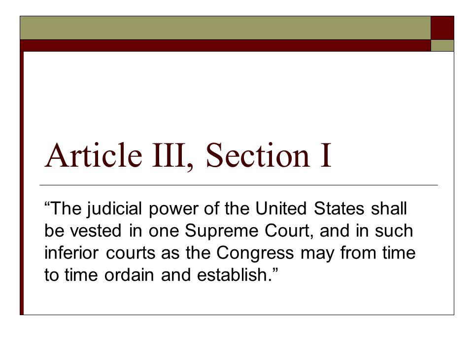 Article III, Section I
