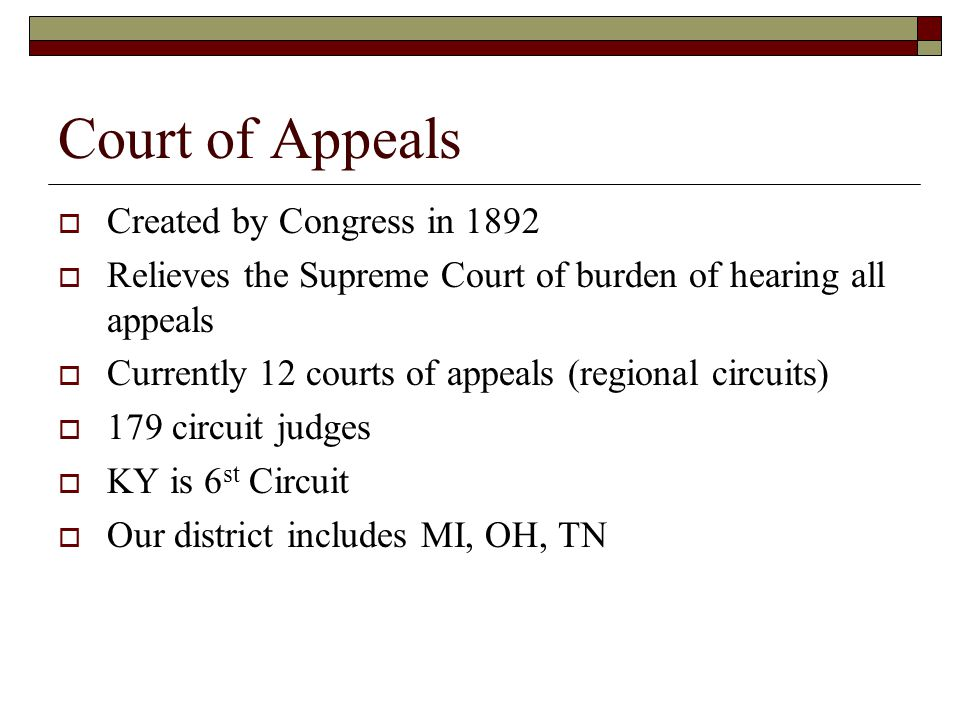 Court of Appeals Created by Congress in 1892