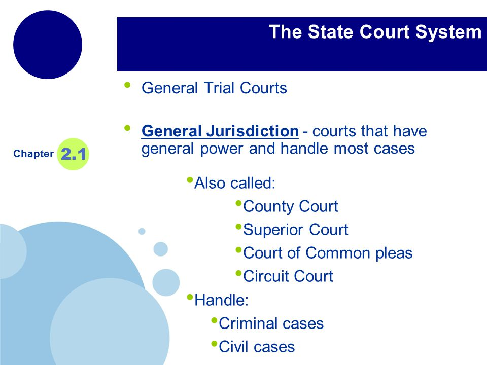 The State Court System General Trial Courts