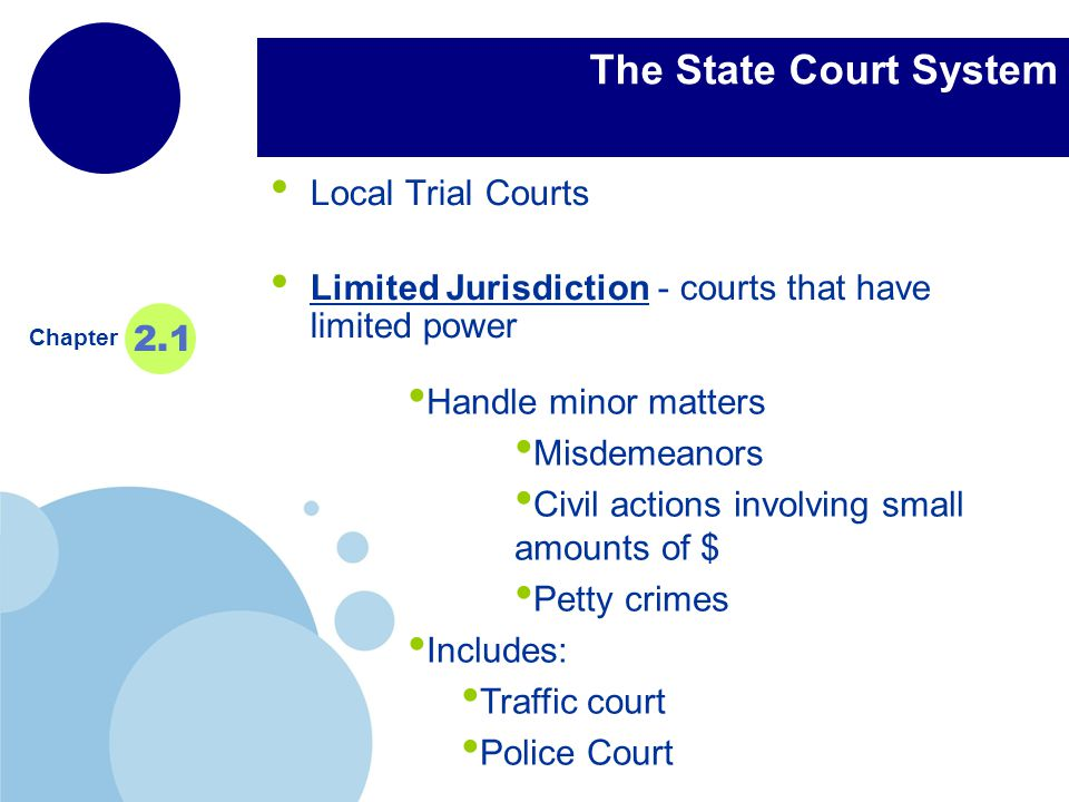 The State Court System Local Trial Courts