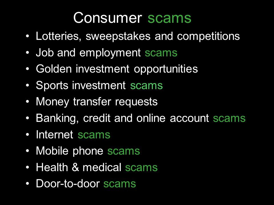 Consumer scams Lotteries, sweepstakes and competitions