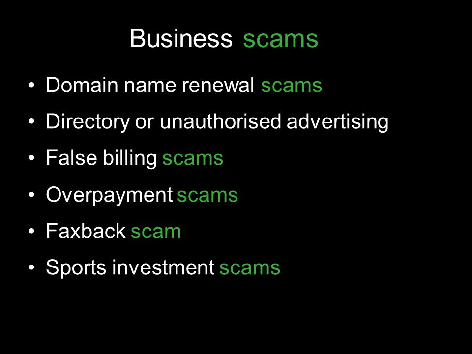 Business scams Domain name renewal scams