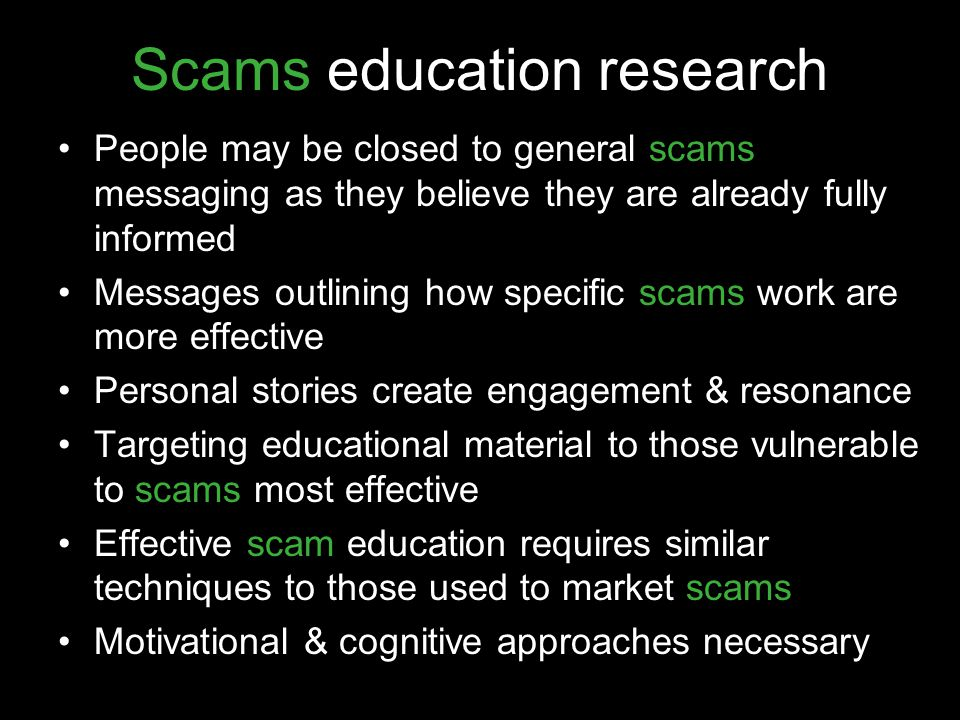 Scams education research