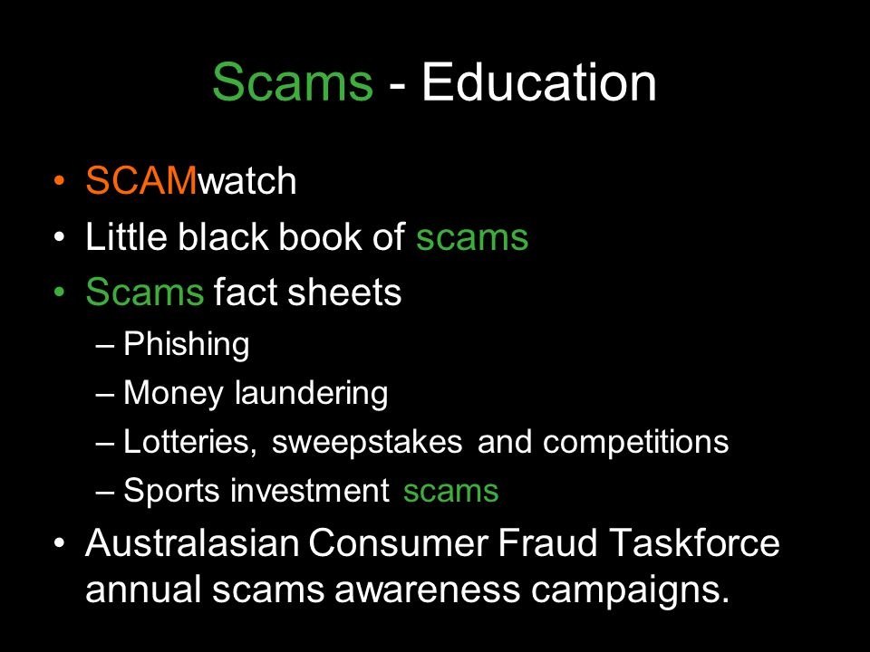 Scams - Education SCAMwatch Little black book of scams