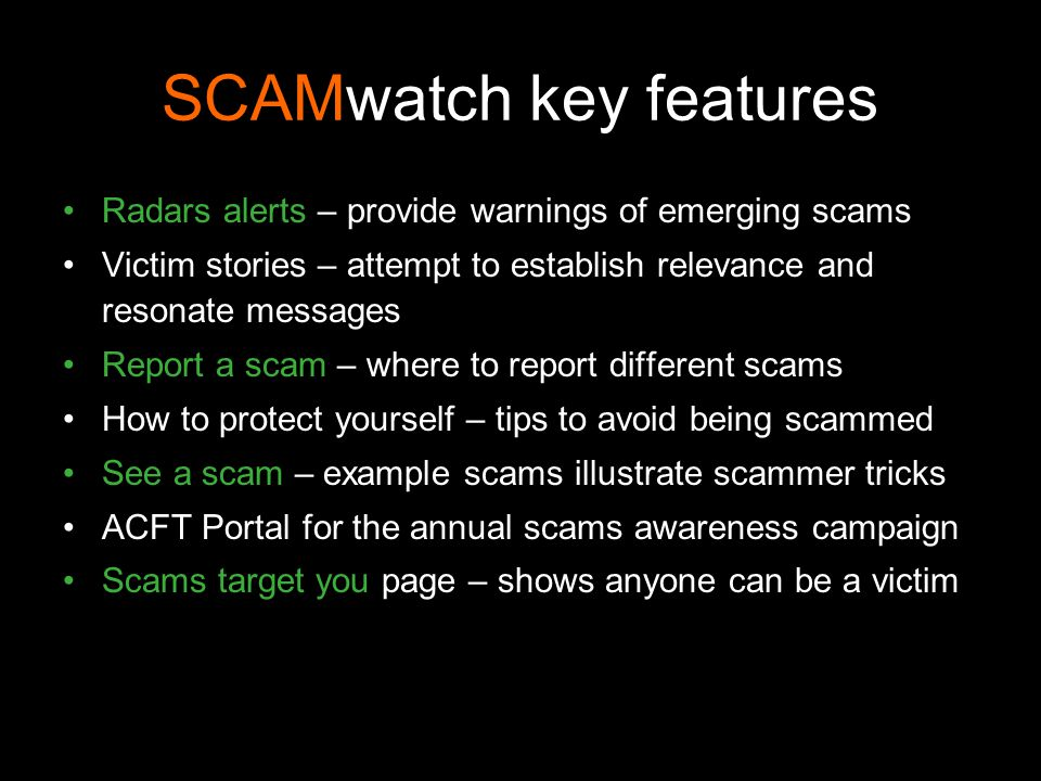 SCAMwatch key features