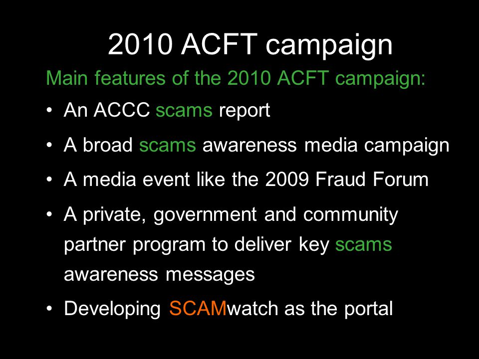 2010 ACFT campaign Main features of the 2010 ACFT campaign: