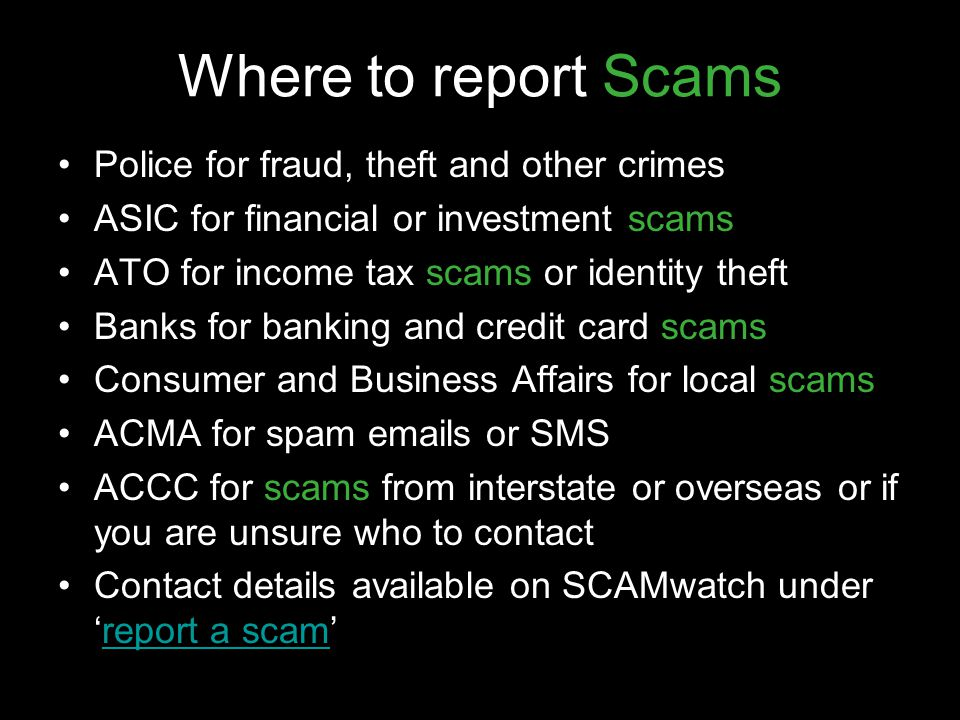 Where to report Scams Police for fraud, theft and other crimes