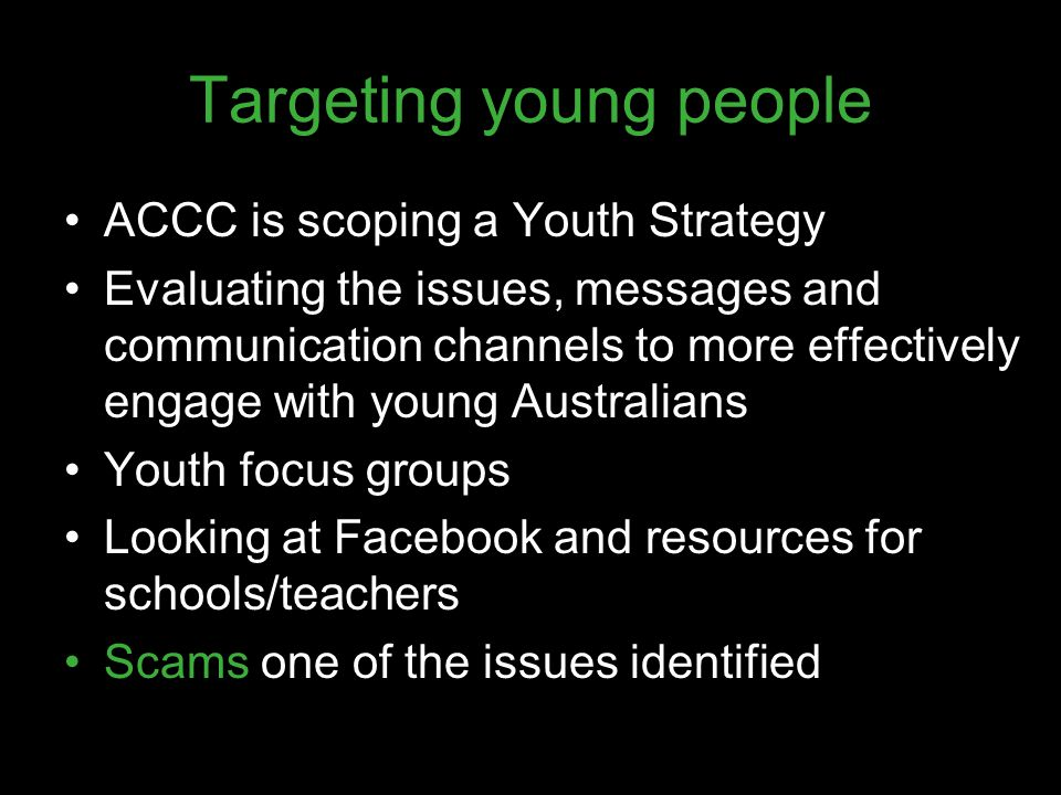 Targeting young people