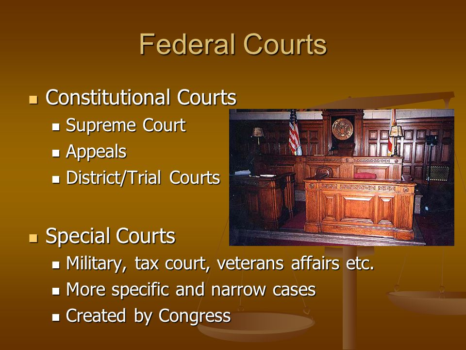 Federal Courts Constitutional Courts Special Courts Supreme Court
