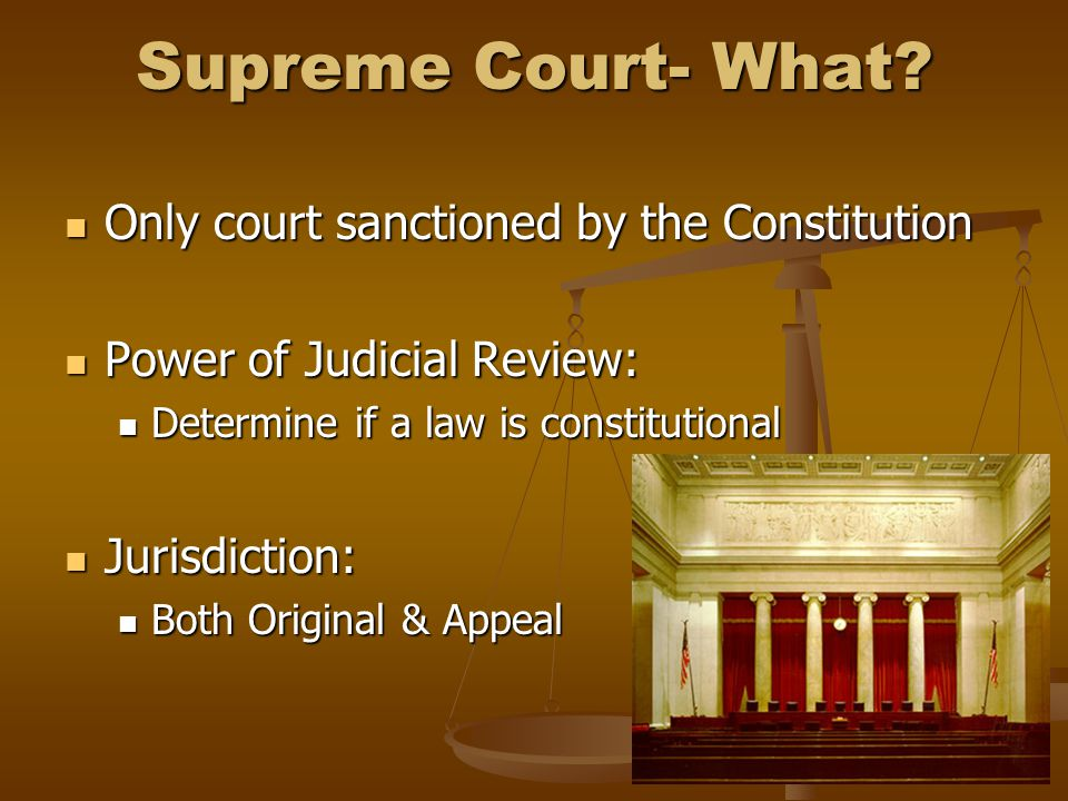 Supreme Court- What Only court sanctioned by the Constitution