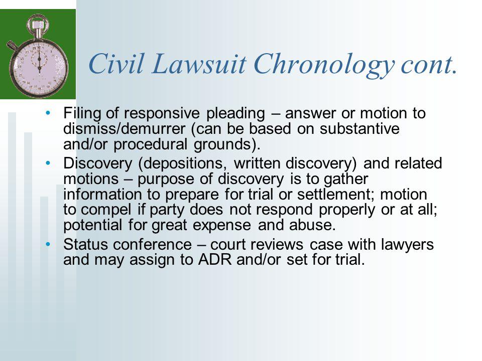 Civil Lawsuit Chronology cont.