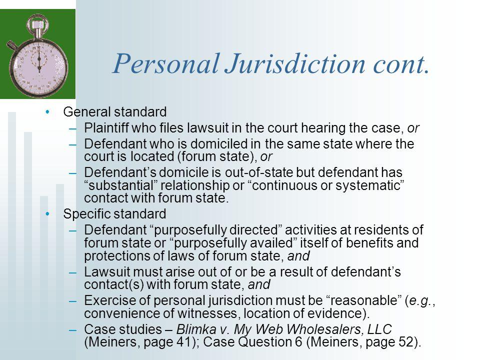 Personal Jurisdiction cont.