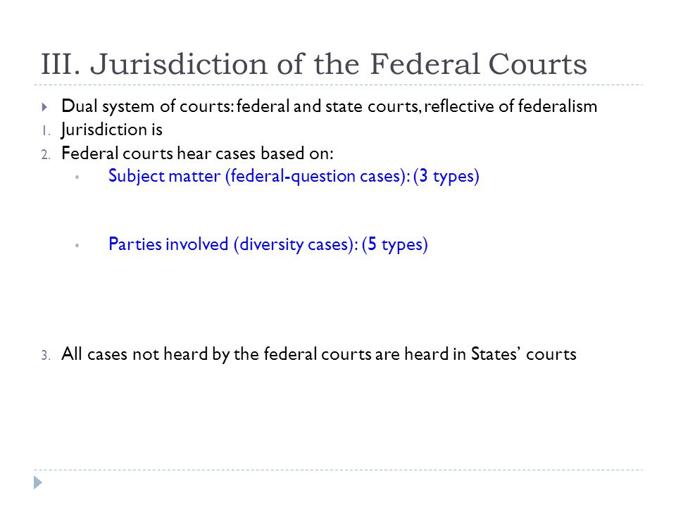III. Jurisdiction of the Federal Courts