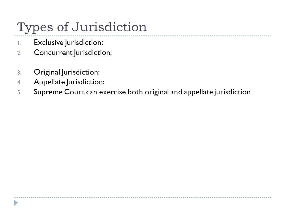 Types of Jurisdiction Exclusive Jurisdiction: Concurrent Jurisdiction: