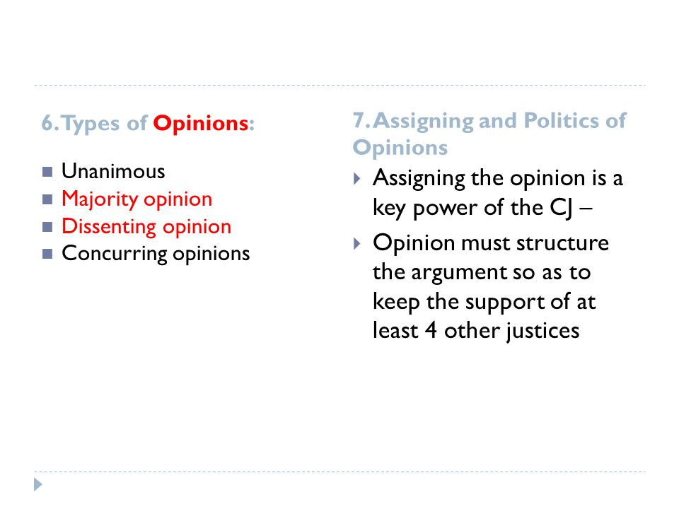 Assigning the opinion is a key power of the CJ –