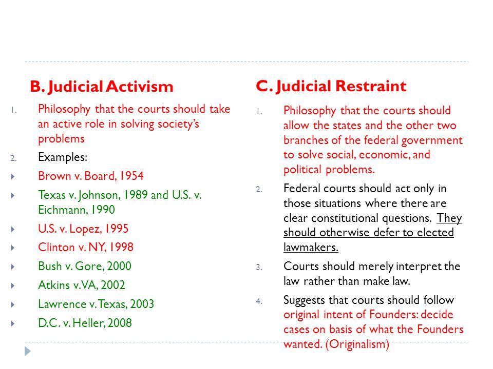 B. Judicial Activism C. Judicial Restraint