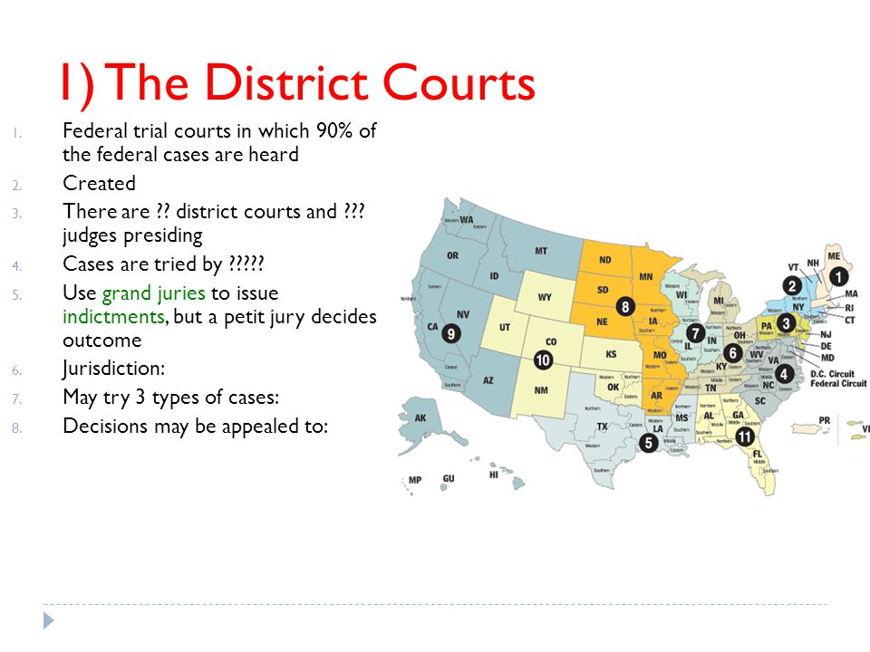 1) The District Courts Federal trial courts in which 90% of the federal cases are heard. Created.