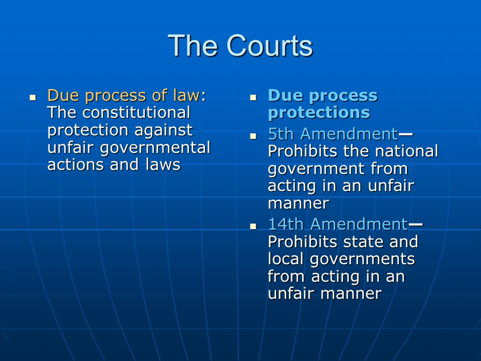 The Courts Due process of law: The constitutional protection against unfair governmental actions and laws.