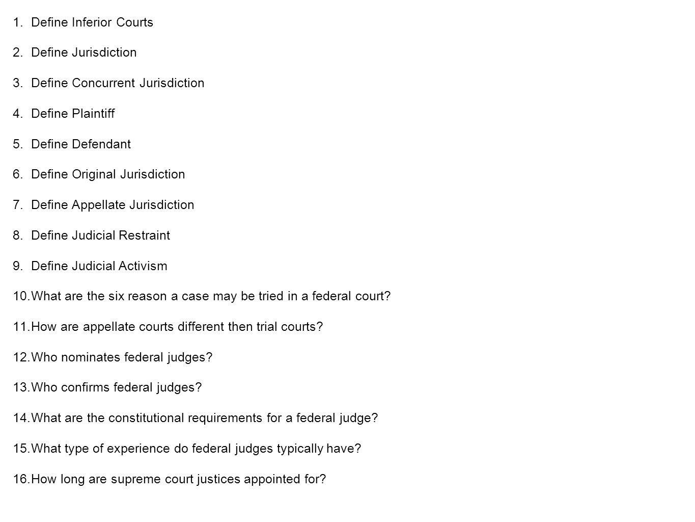 Define Inferior Courts