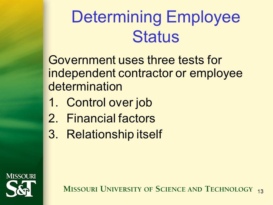 Determining Employee Status
