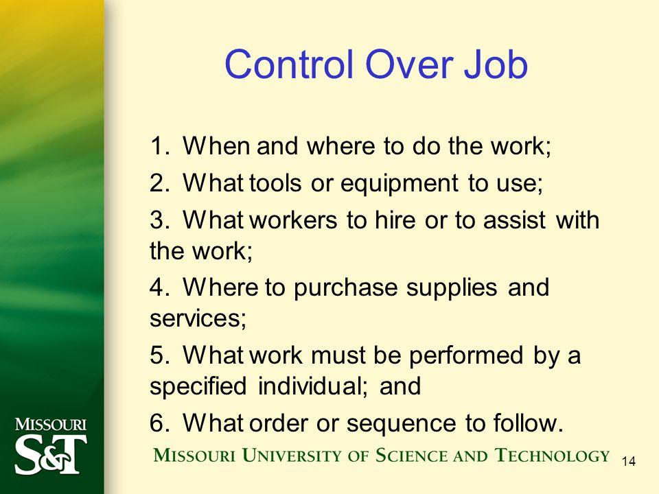 Control Over Job