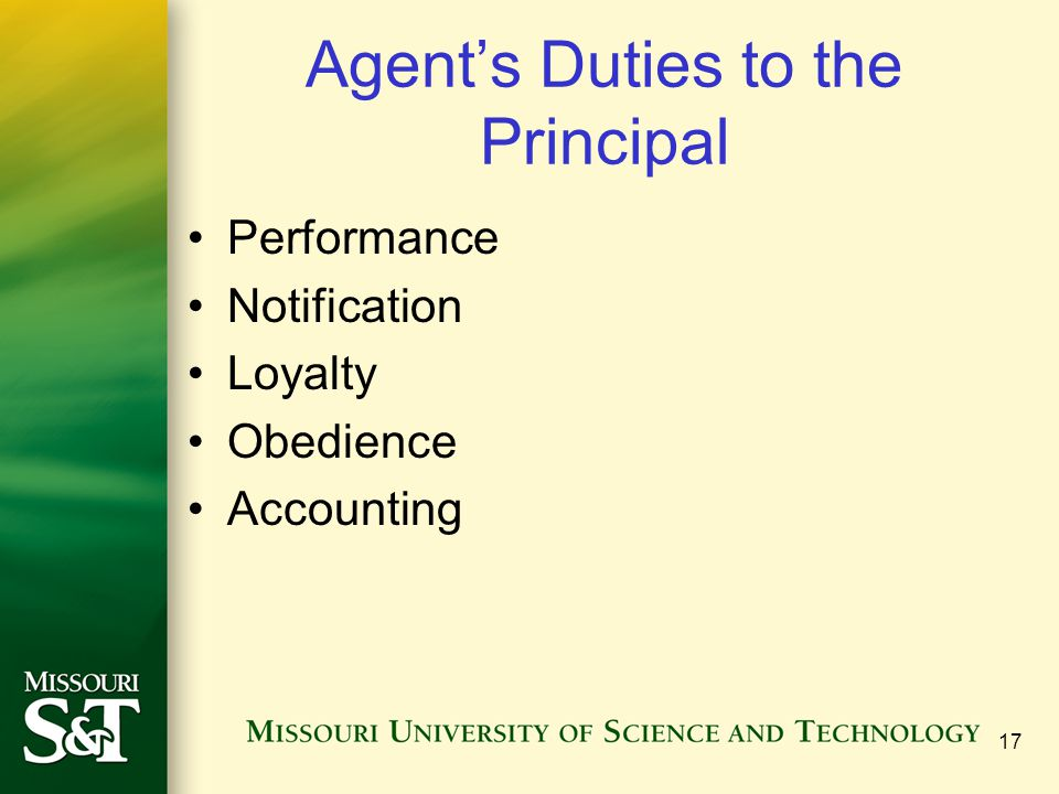 Agent's Duties to the Principal