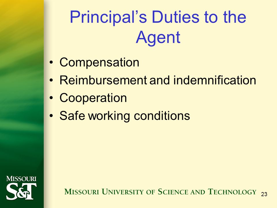 Principal's Duties to the Agent