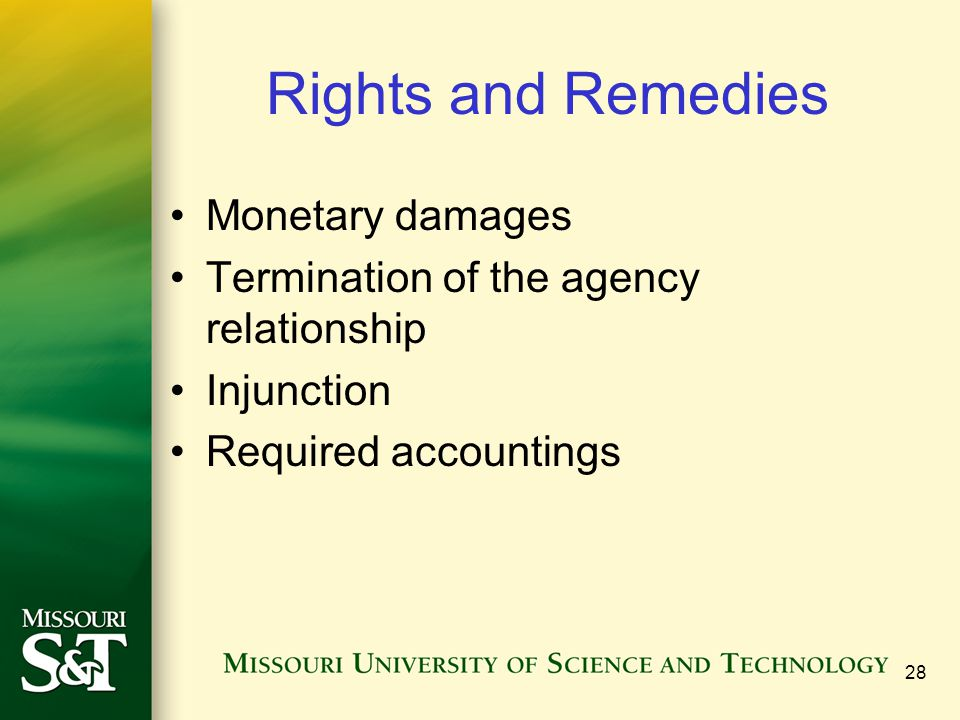 Rights and Remedies Monetary damages