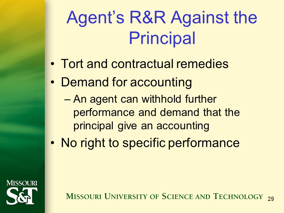 Agent's R&R Against the Principal