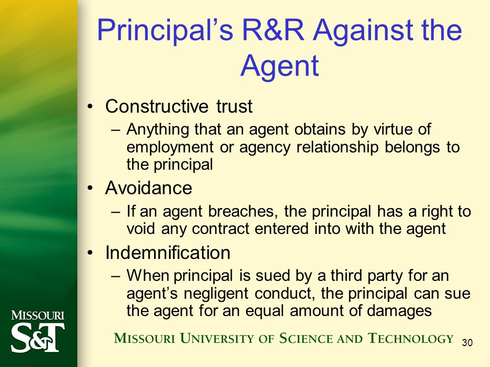 Principal's R&R Against the Agent