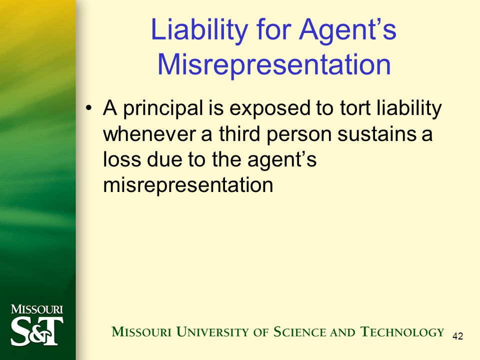 Liability for Agent's Misrepresentation